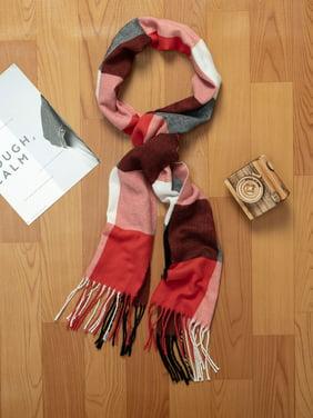 SAYFUT Soft Plaid Unisex Scarves Winter Plaid Scarf Fashion Tartan Knit Winter Warm Lattice Scarves