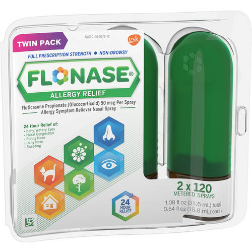 Flonase Allergy Relief Nasal Spray, 0.54 fl oz, 120 Metered Sprays, Twin Pack