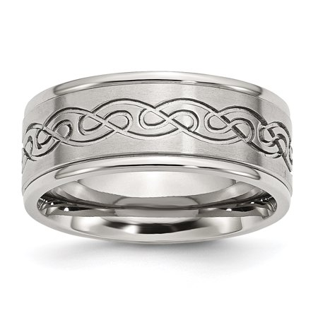 Stainless Steel Scroll Design 9mm Brushed/ Ridged Edge Wedding Ring Band Size 14.00 Fancy Fashion Jewelry For Women Gifts For Her - image 10 of 10