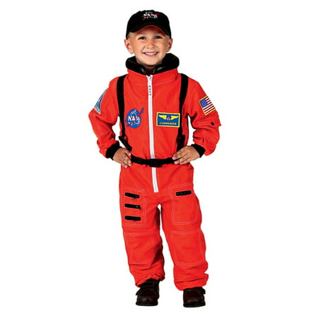 Embroidered Costume (Orange NASA Astronaut Suit with Embroidered Cap, Size 4/6)