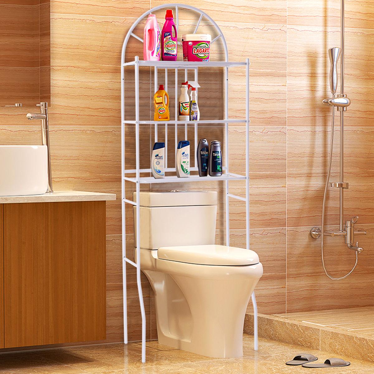 Costway 3 Shelf Over The Toilet Bathroom Space Saver Towel Storage