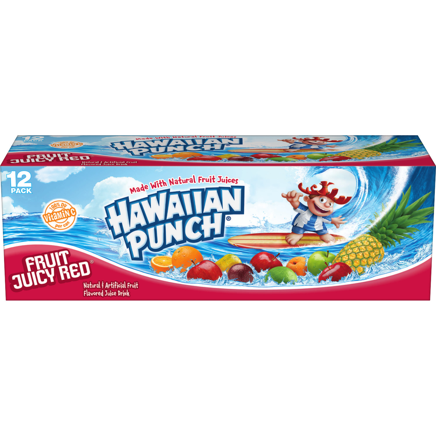 Hawaiian Punch Gluten-Free Fruit Juicy Red Juice Drink, 12 Fl. Oz., 12 Count