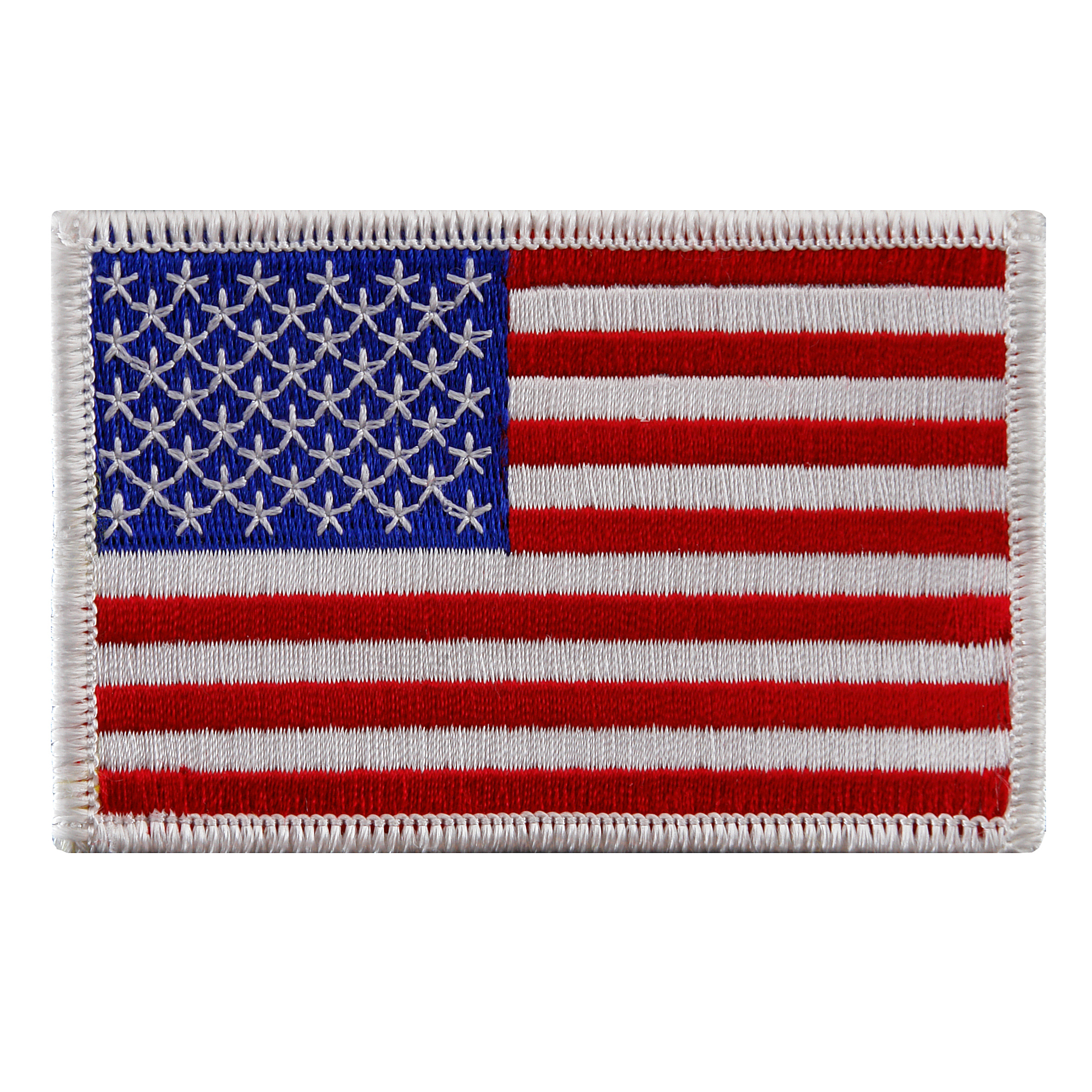 American Flag Iron-on Embroidered Patch White Border