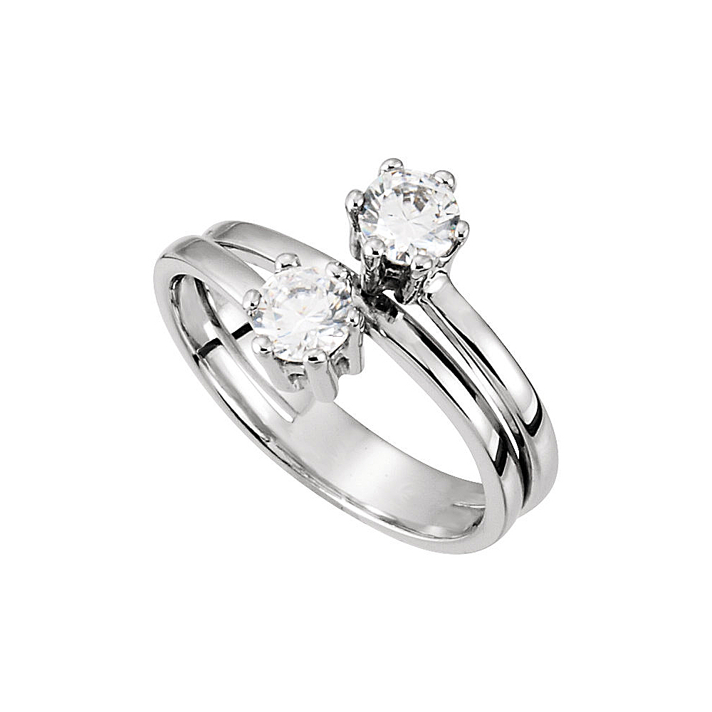 Designer Two Stone Ring With Cz In 14k White Gold