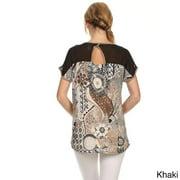 MOA Collection Women's Plus Size Paisley Print Top KHAKI-XLARGE