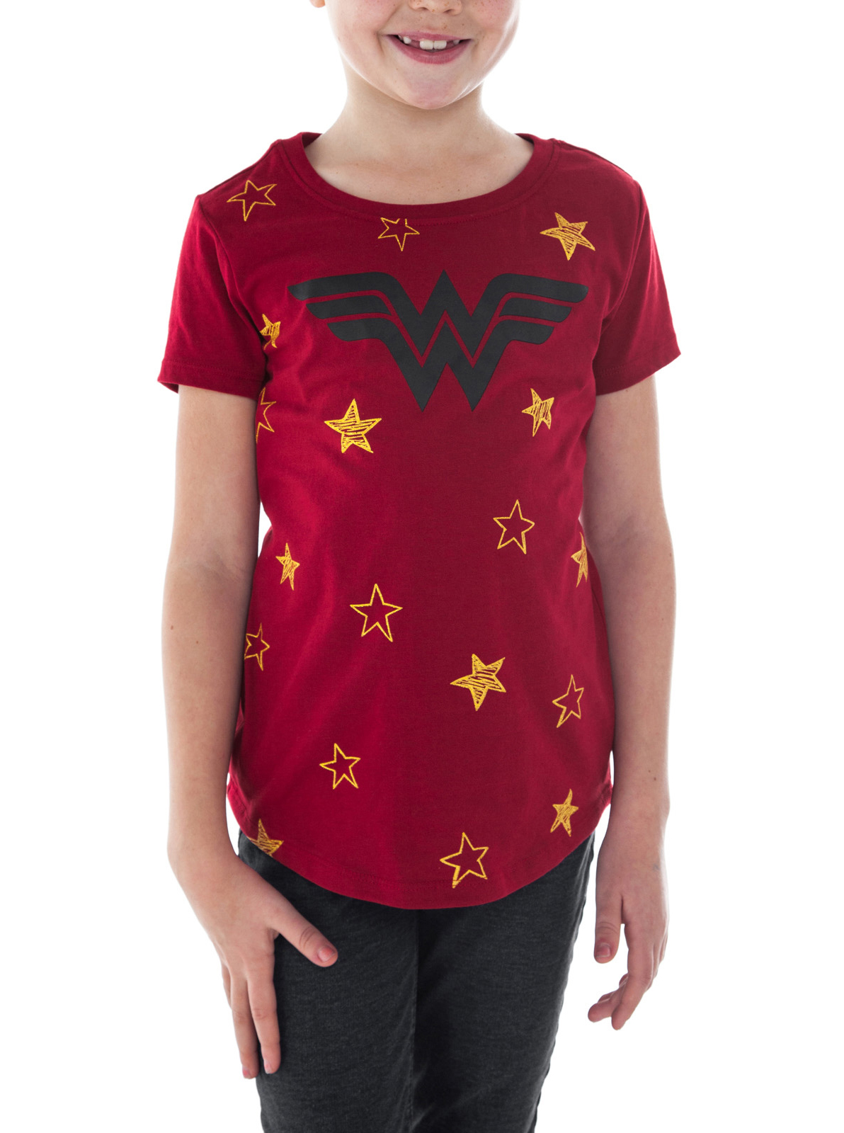 Girls Wonder Woman Logo Stars Short Sleeve T-Shirt Red