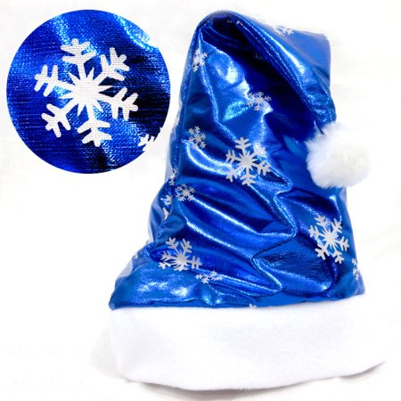 Blue And White Santa Hats (Christmas Party Santa Hat Red And White Cap for Santa Claus Costume)
