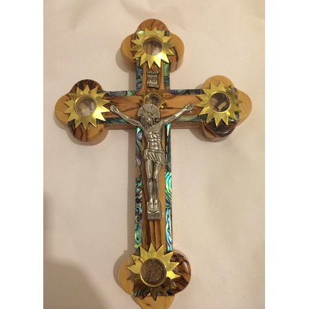 Charming Mother of Pearl Plated 14 Stations Wall Wood Cross Crucifix with Holy Essences Made of Olive Wood 11""