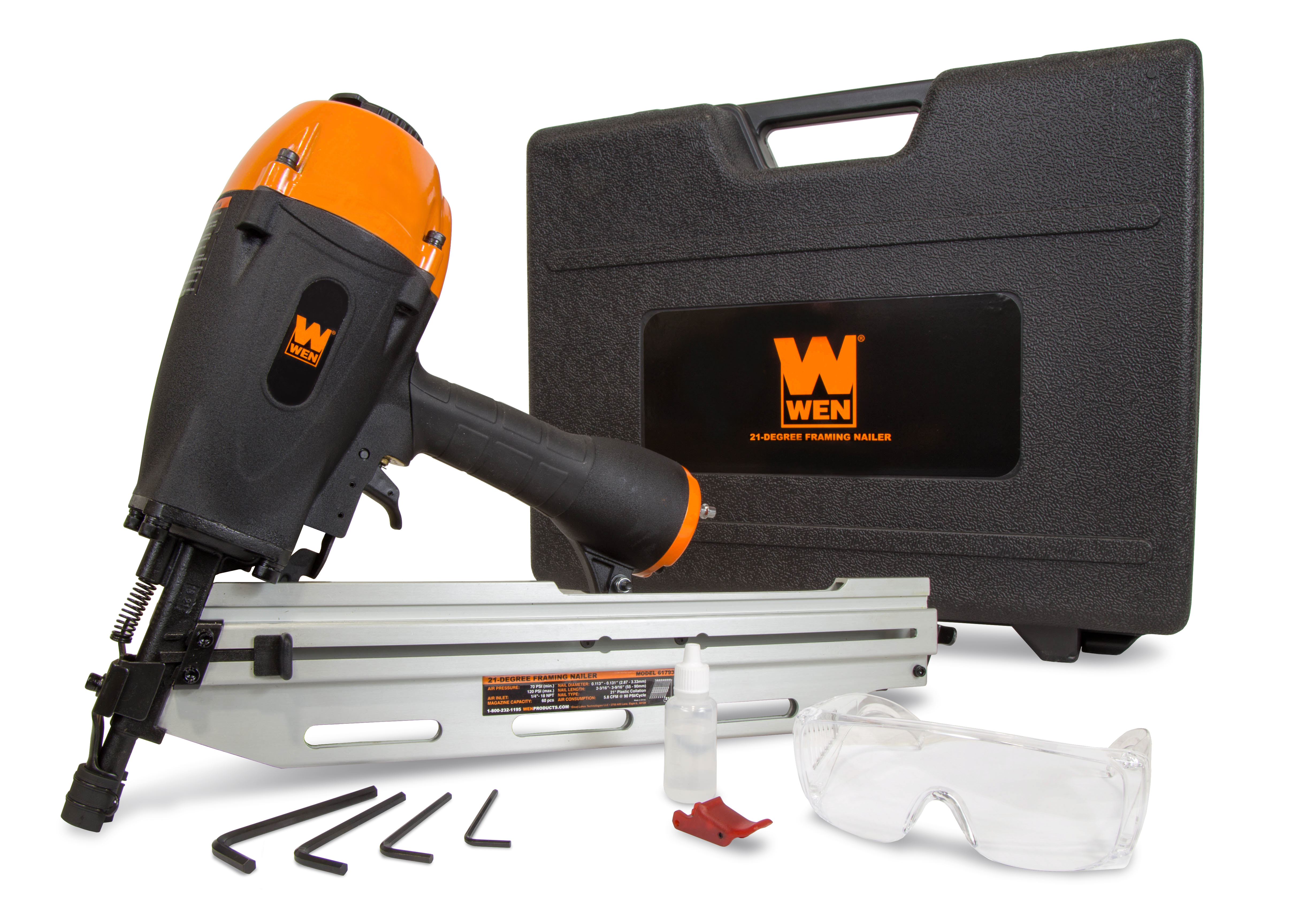 WEN 21-Degree Pneumatic Framing Nailer with Carrying Case by WEN