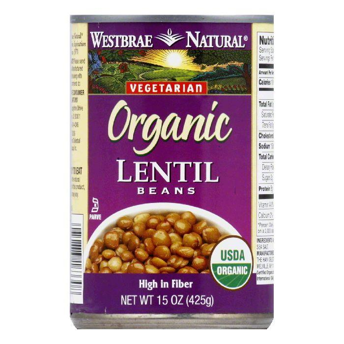 Westbrae Beans Lentils Fat Free Organic, 15 OZ (Pack of 6)