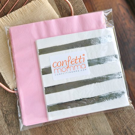 Pink and Silver First Birthday Napkins (Pack of 16). Pink and Silver Winter Wonderland Decorations.