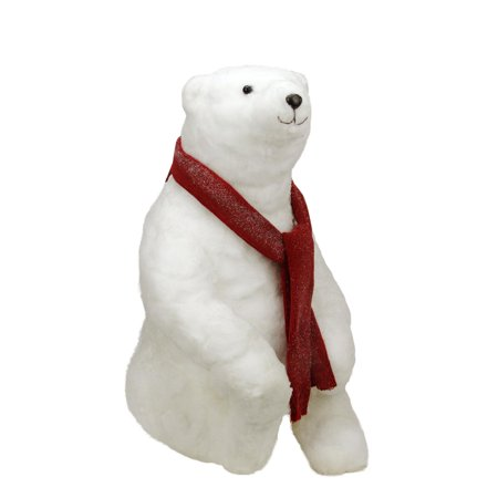 2 commercial sitting plush white polar bear christmas decoration