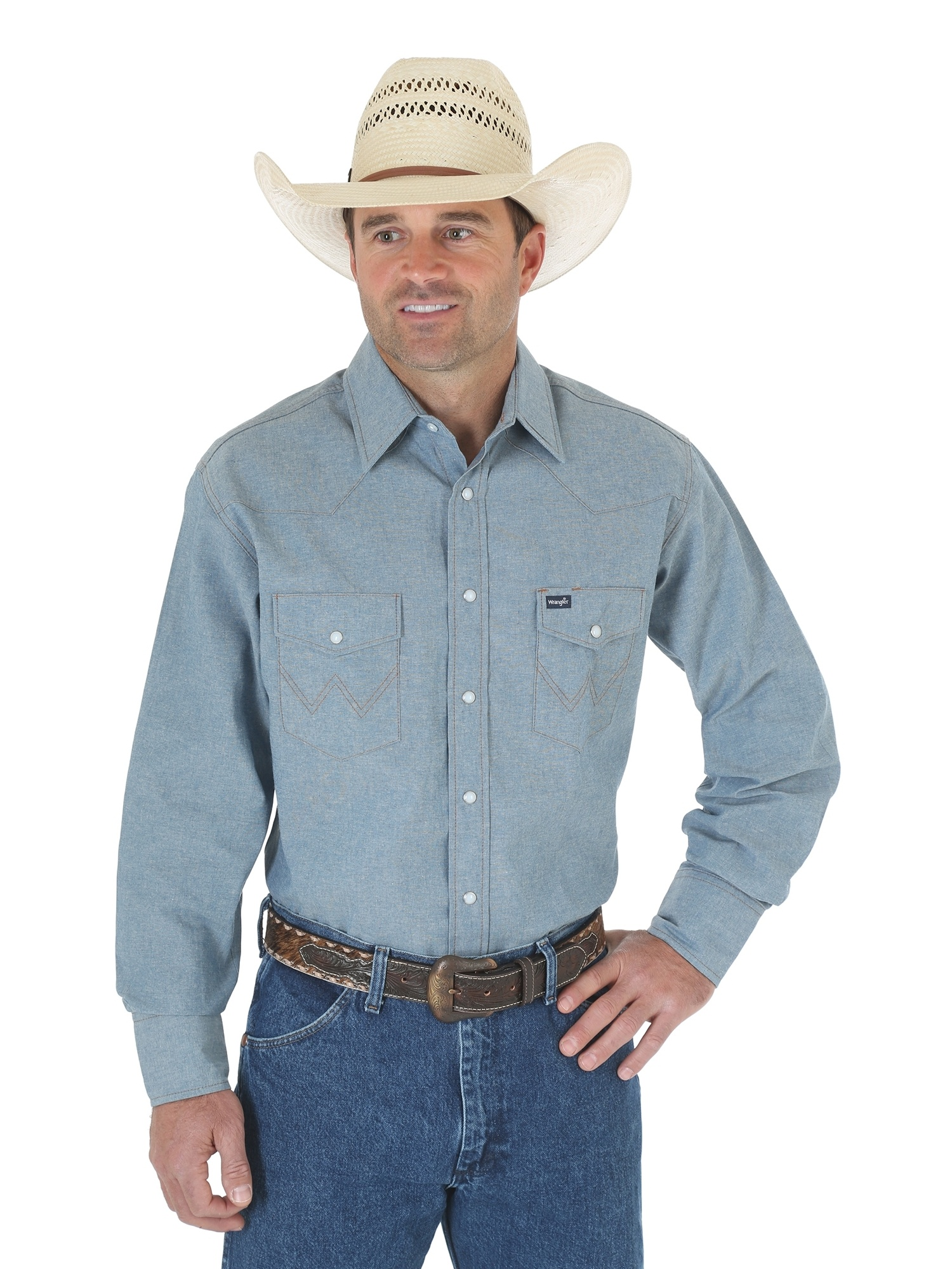 Wrangler Mens Cowboy Cut Long Sleeve Work Shirt Chambray - Walmart.com