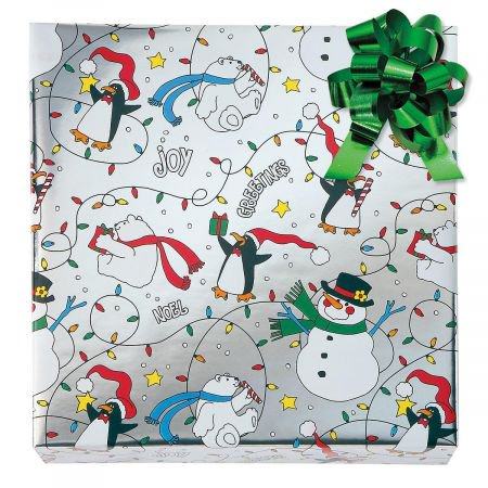 Christmas Critters Foil Rolled Gift Wrap - 38 sq. ft. metallic wrap