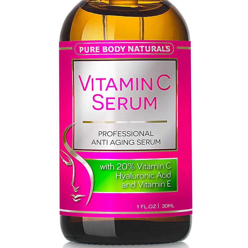 Pure Body Naturals Vitamin C Serum for Face with Hyaluronic 1.0 oz