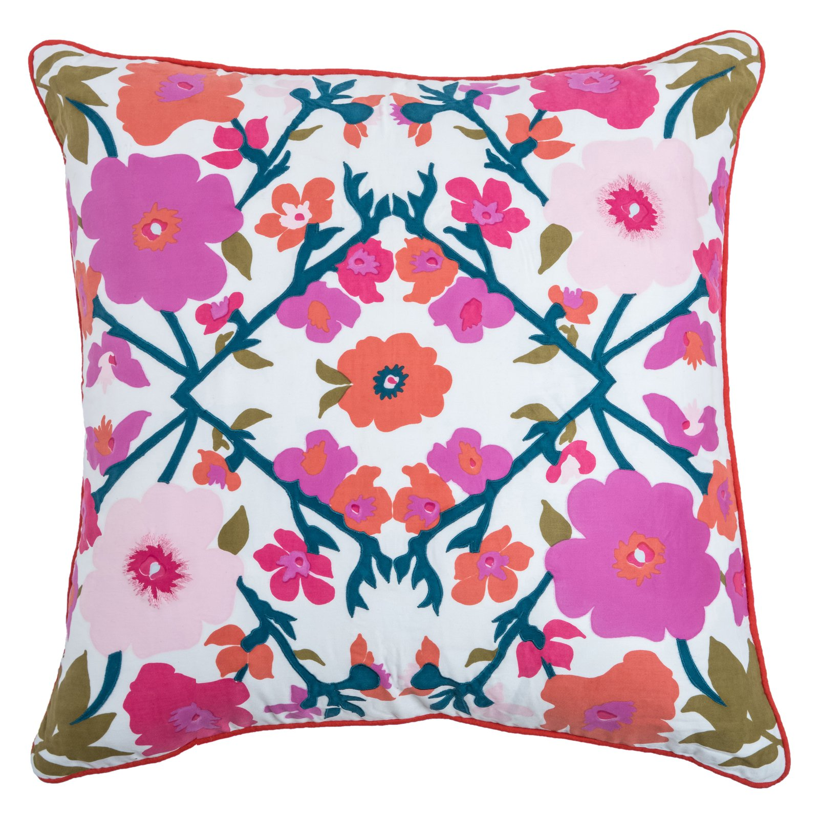 "Rizzy Home Decorative Poly Filled Throw Pillow Floral 22""X22"" Pink"