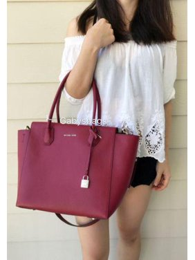 f2cba3432e59 Product Image NWT Michael Kors Mercer Large Leather Satchel Bag Tote Cherry  Red Crossbody