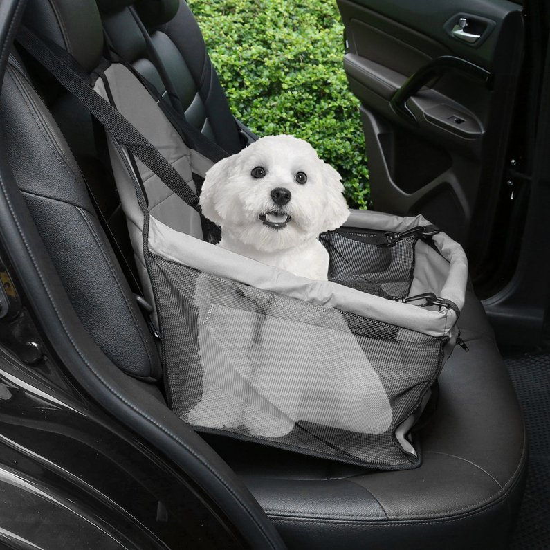 2018 New Upgraded Portable Dog Car Seat Belt Booster Soft Oxford Travel Bags Folding Pet Car Carrier Comfortable Breathable Mat(Grey)