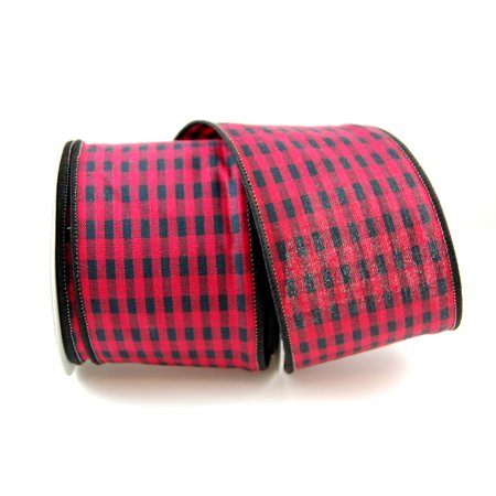 Christmas Wired Ribbon (Cabin Cotton Wired Red and Black Plaid Checked Christmas Ribbon 2 1/2