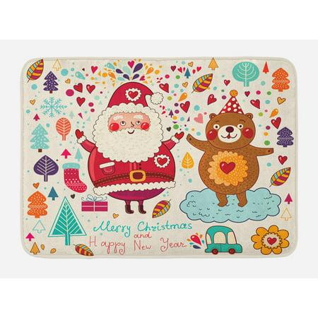 Christmas Bath Mat, Santa and Teddy Bear Vintage Christmas Season Ornaments Party Kids Nursery Theme, Non-Slip Plush Mat Bathroom Kitchen Laundry Room Decor, 29.5 X 17.5 Inches, Multicolor, Ambesonne