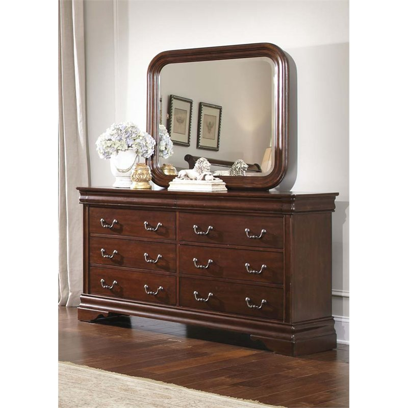 Liberty Furniture Carriage Court Dresser and Mirror Set in Mahogany