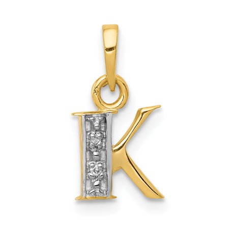 14k Yellow Gold .01ct Diamond Initial Monogram Name Letter K Pendant Charm Necklace For (14k White Gold Diamond Letter)