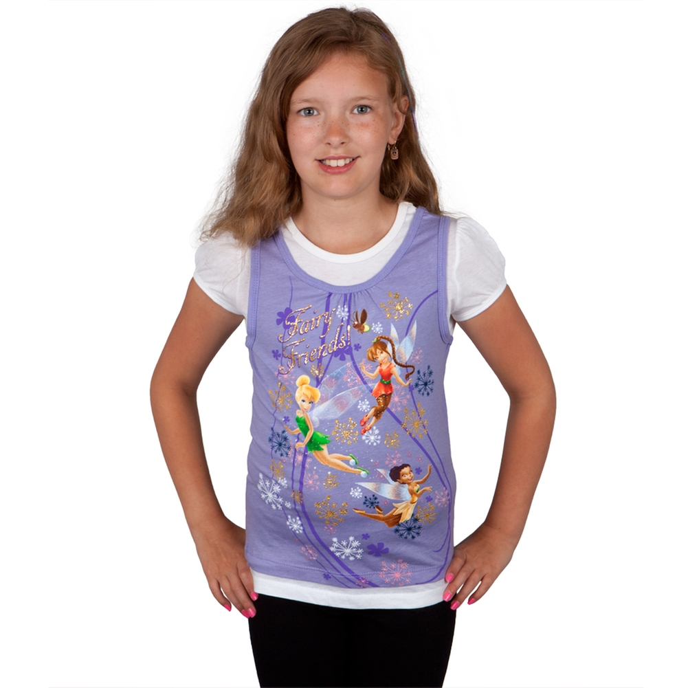 Disney Fairies - Fairy Friends Girls Juvy Short Sleeve 2fer