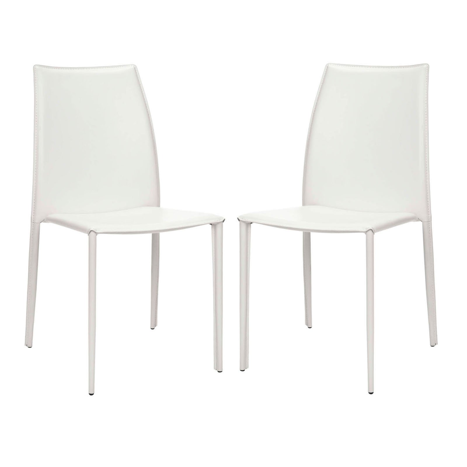 Safavieh Aidan Dining Side Chairs White Vinyl Set of 2 by Safavieh