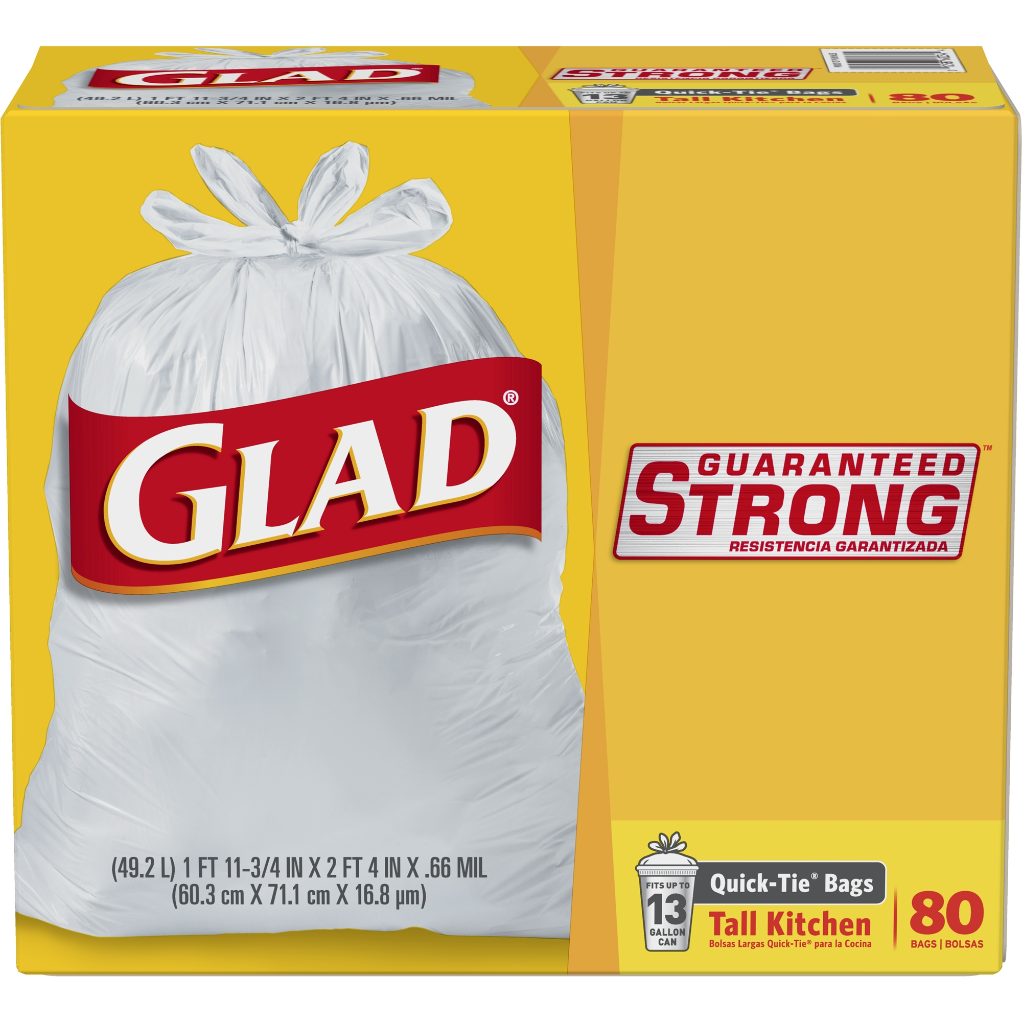 Glad Quick-Tie Tall Kitchen Trash Bags - 13 gal - 80 ct