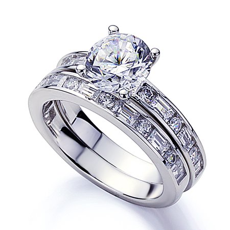 Men Women Platinum Plated Sterling Silver 2ct Round CZ Baguette Accent Wedding Bridal Set ( Size 5 to 9 ) ()