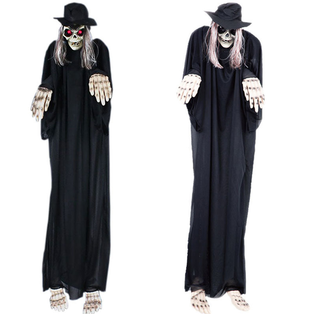 1.4M Large Halloween Decor Yard Haunted House Fearful Animated Hanging Grim Reaper Ghost Skull