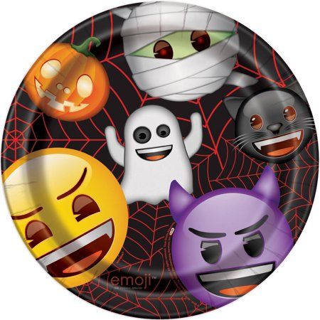 Emoji Halloween Paper Plates, 9 in, 8ct](Halloween Emoji Text)
