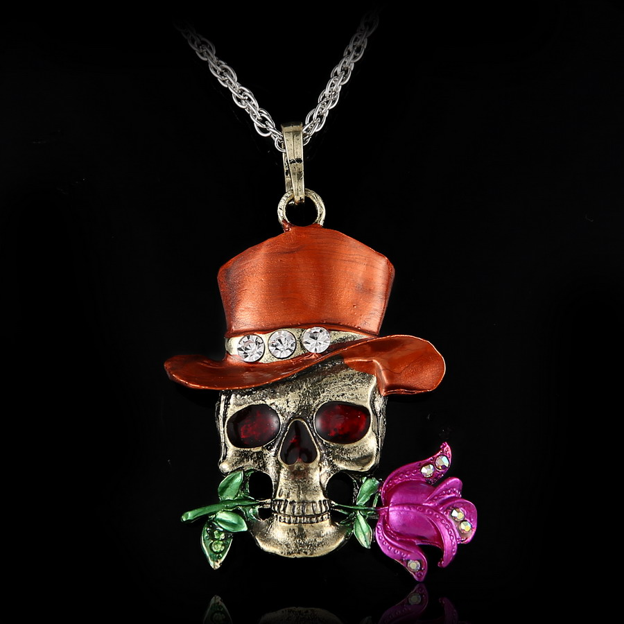 Skull Flower Silver Necklace Pendant Jewelry