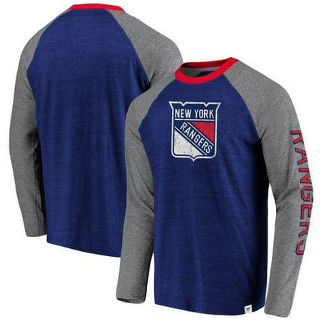 timeless design a4007 ad2d3 New York Rangers Fanatics Branded True Classics Tri-Blend Raglan Long  Sleeve T-Shirt - Blue/Heathered Gray