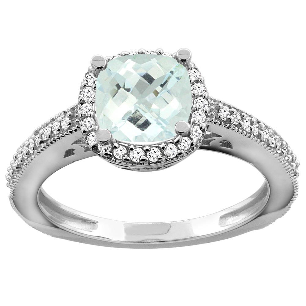 10K Gold Natural Aquamarine Engagement Ring Diamond Halo Cushion 7mm, sizes 5 10 by WorldJewels