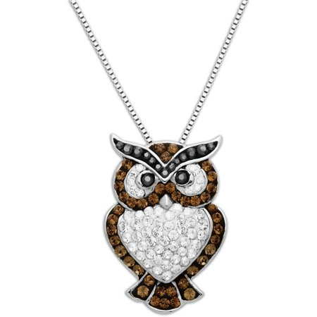 """Luminesse Sterling Silver Owl Pendant made with Swarovski Elements, 18"""""""