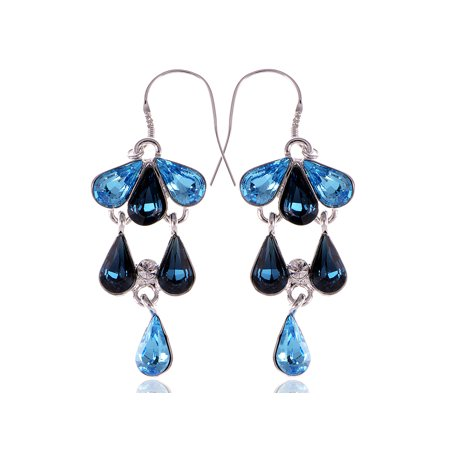 Swarovski Crystal Elements Blue Gradient Cascading Mermaid Seashell Earrings