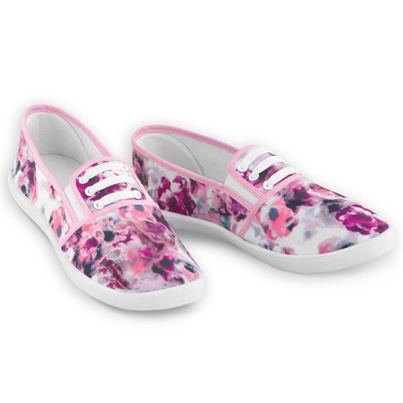 Floral Print Stretch Lace No Tie Sneakers for Women, 9, Pink