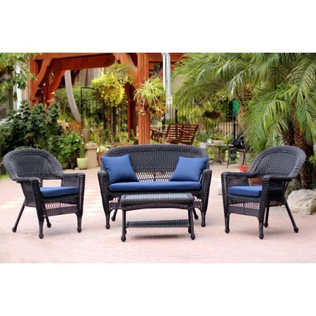 4 Piece Black Wicker Patio Chair Loveseat Amp Table
