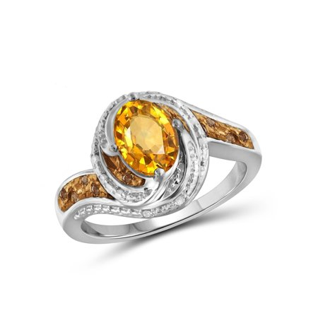 1.11 Carat T.G.W. Citrine Gemstone & 1/10 Carat T.W. Champagne & White Diamond Ring in Sterling Silver