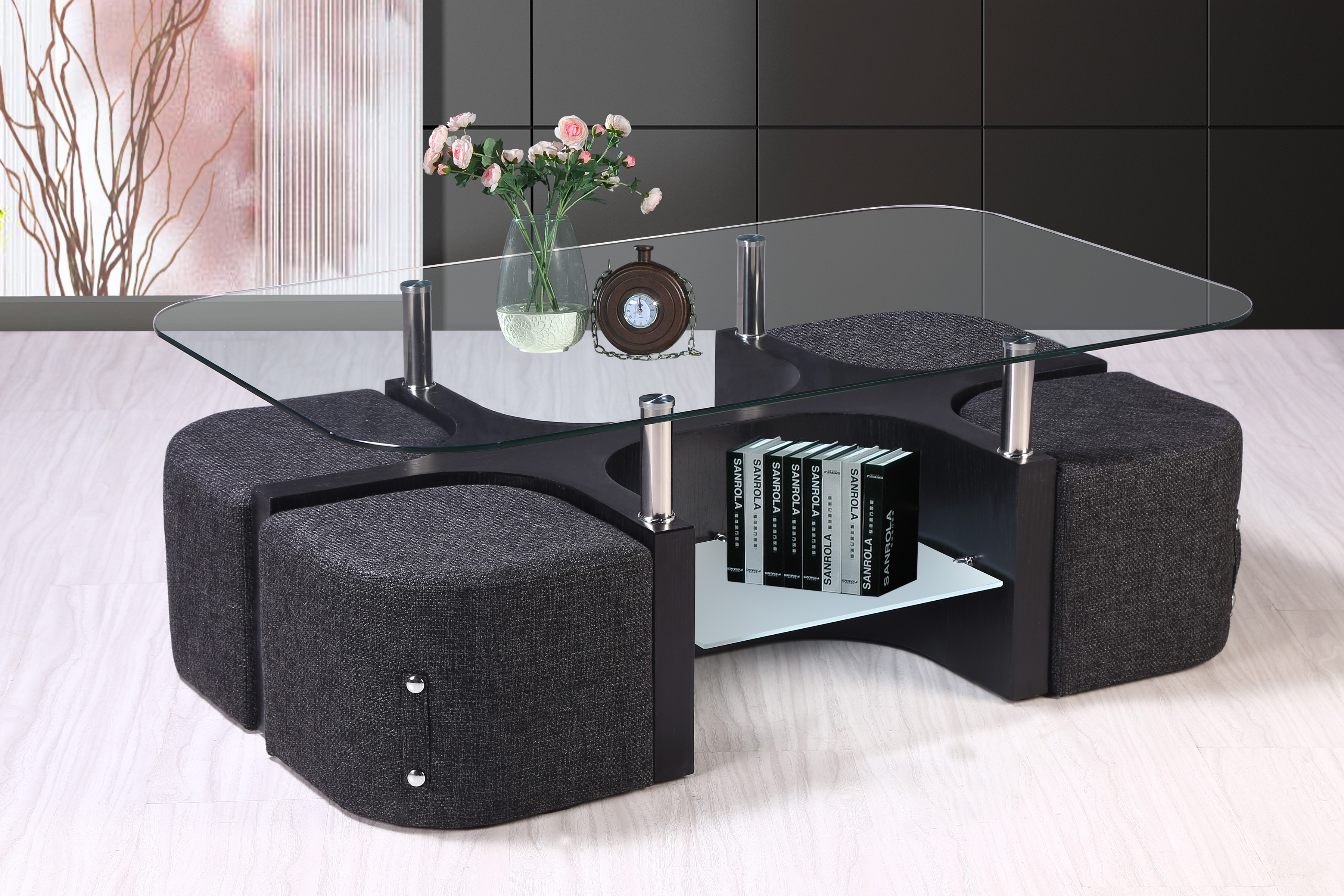 Best Quality Furniture Coffee Table Includes 4 Stools And Double Book Shelf Top Clear Gl Ct80