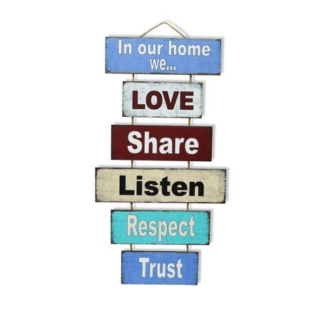 Love Family Rules Hanging Plaque Picture Sign Wall Door Home Garden Decor Gifts - In Our Home