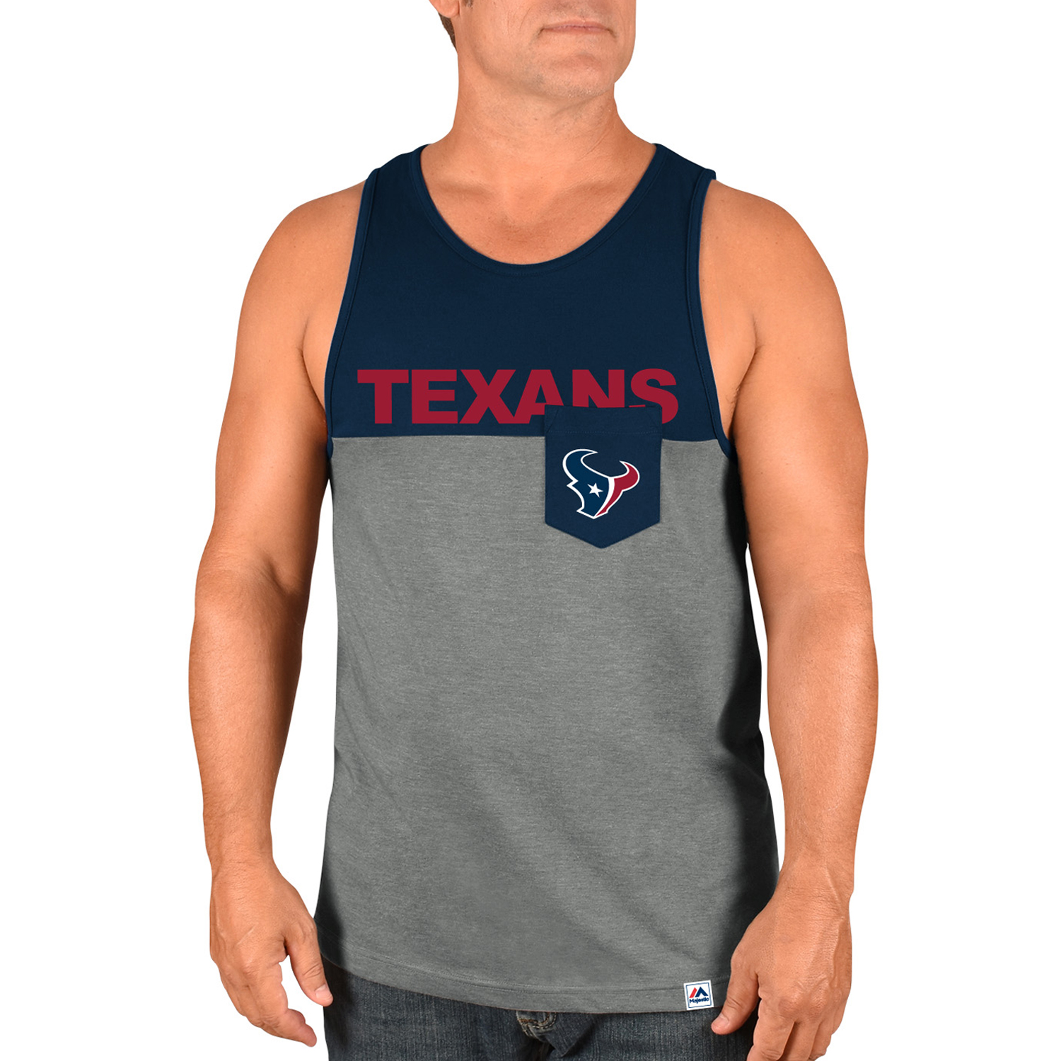 Houston Texans Majestic Throw the Towel Tank Top - Heathered Gray/Navy