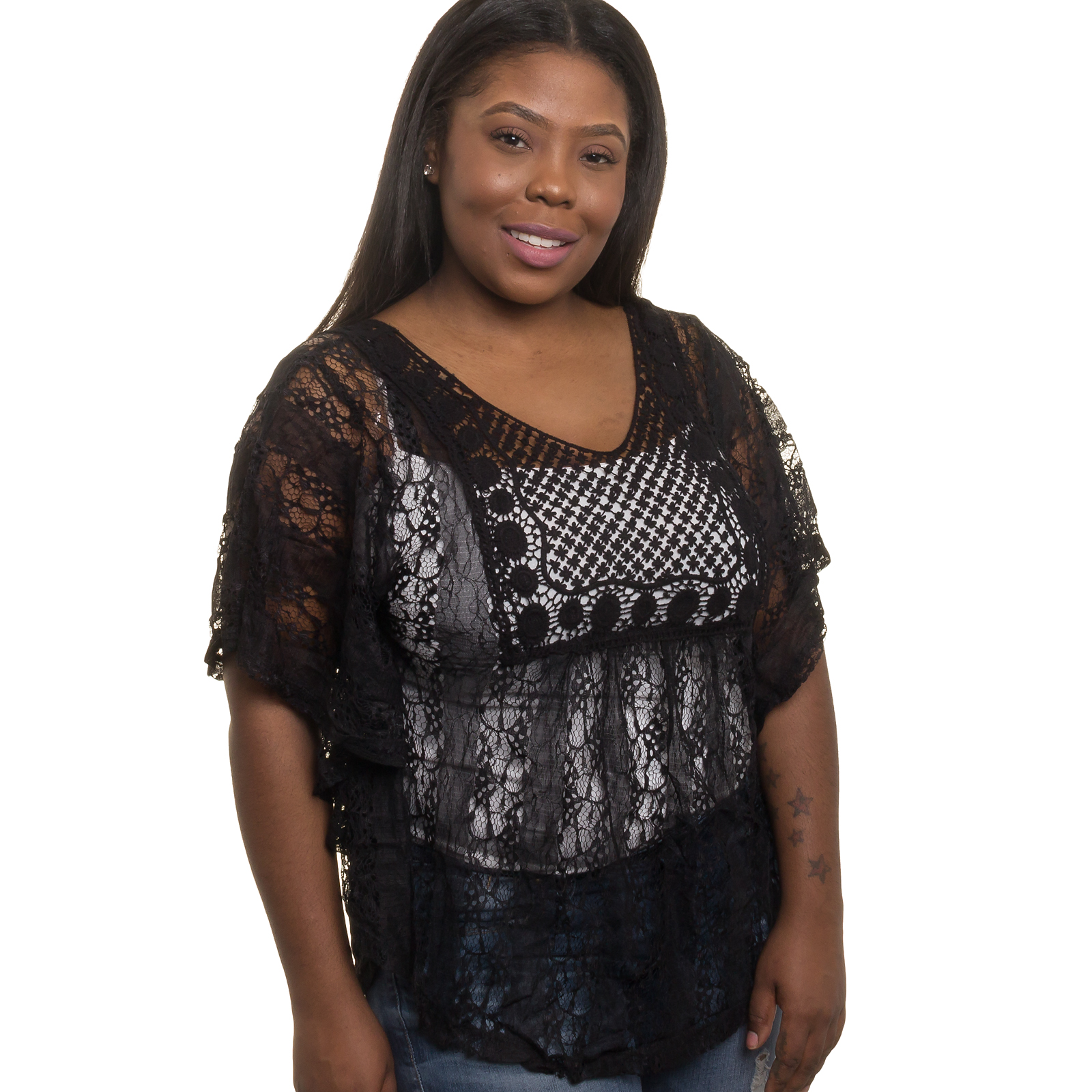 SILVER LILLY NEW Womens Junior Plus Size Sheer Crochet Lace Tank Top (BLK, 3X)