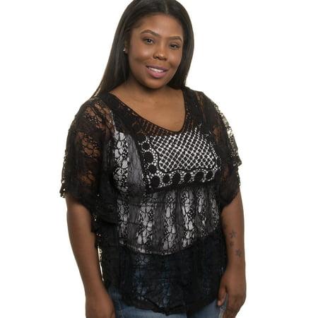 399fa3dfa62 Silver Lilly - NEW Womens Junior Plus Size Sheer Crochet Lace Tank Top -  Walmart.com