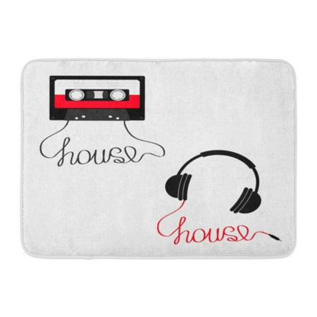 GODPOK Plastic Audio Tape Cassette Earphones Headphones with Cord House Music Retro Recording 80S 90S Years Rug Doormat Bath Mat 23.6x15.7