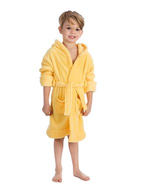 Elowel Boys Girls Hooded Yellow Childrens Toddler Fleece Sleep Robe Size 6Y