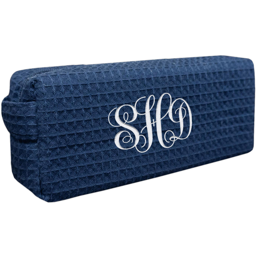 Embroidered Monogram Makeup Bag