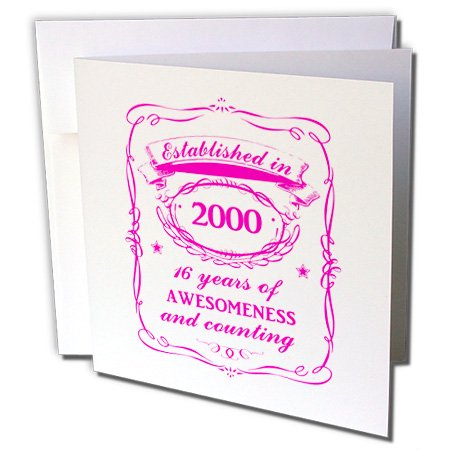 3dRose Hot Pink Sweet 16 16th Birthday girl gift for those born in year 2000 - Greeting Cards, 6 by 6-inches, set of 6 2000 Greetings Cards