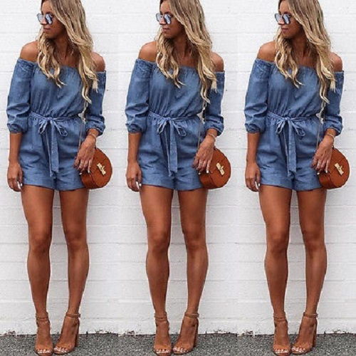 Mupoo Off Shoulder Sexy Playsuit Ladies Summer Shorts Beach Sun Womens Dress Jumpsuit